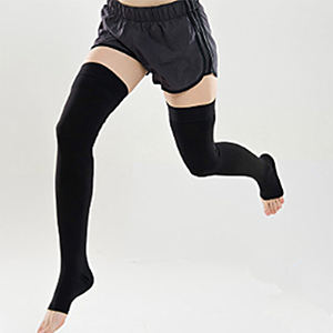 Black toeless thigh-high stockings