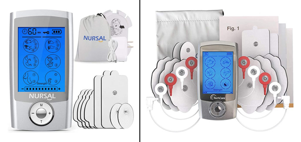 Nursal brand TENS Unit side by side images of what is included in the set