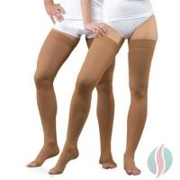 two people wearing baige opentoe-compression-socks