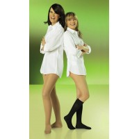 two women wearing white shirts and black and beige compression socks