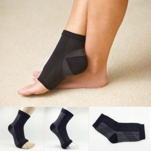 black unisex ankle support stockings image