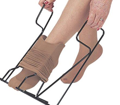 use a socks donner to wear 20 mmHg to 30 mmHg knee high or thigh high hosiery