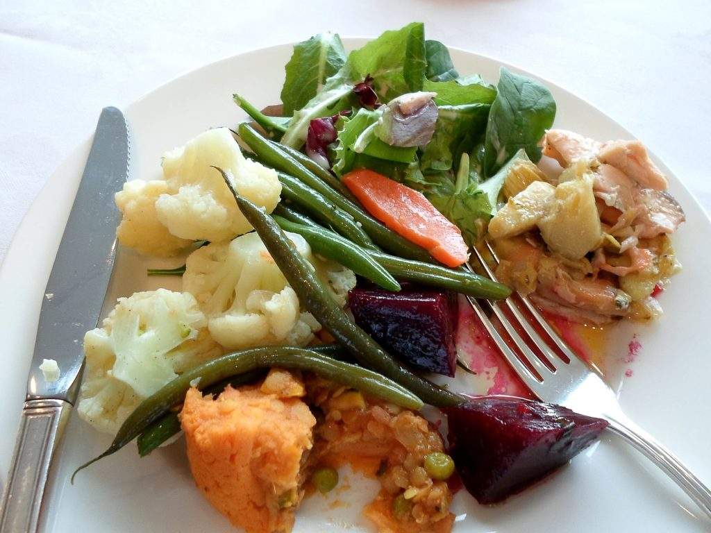 A plate of salad typical of the Western world's idea of a healthy meal