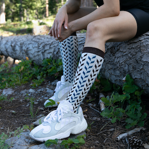 White Knee High Compression Stockings. These Compression Stockings are ComproGear Compression Stockings in 20-30 mmHg Compression.