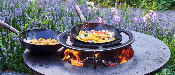 wok cooking food outside