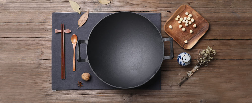 wok with food preparation