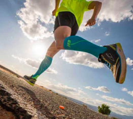 runner wearing extra large compression socks