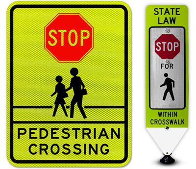 stop sign pedestrian crossing