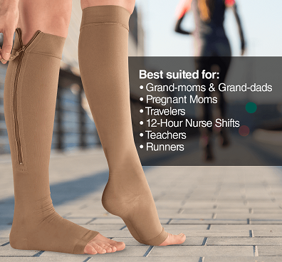 brown knee high compression socks with zip and open toe