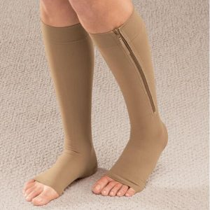 Image showing man wearing compression stocking with zips