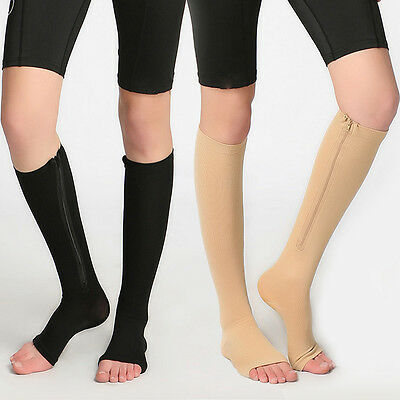 zippered compression socks images of people wearing them