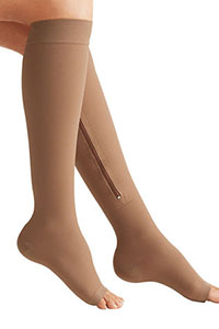 Open toe zip-up compression socks