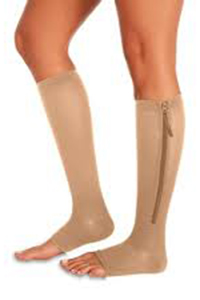 zippered open toe knee high compression stockings